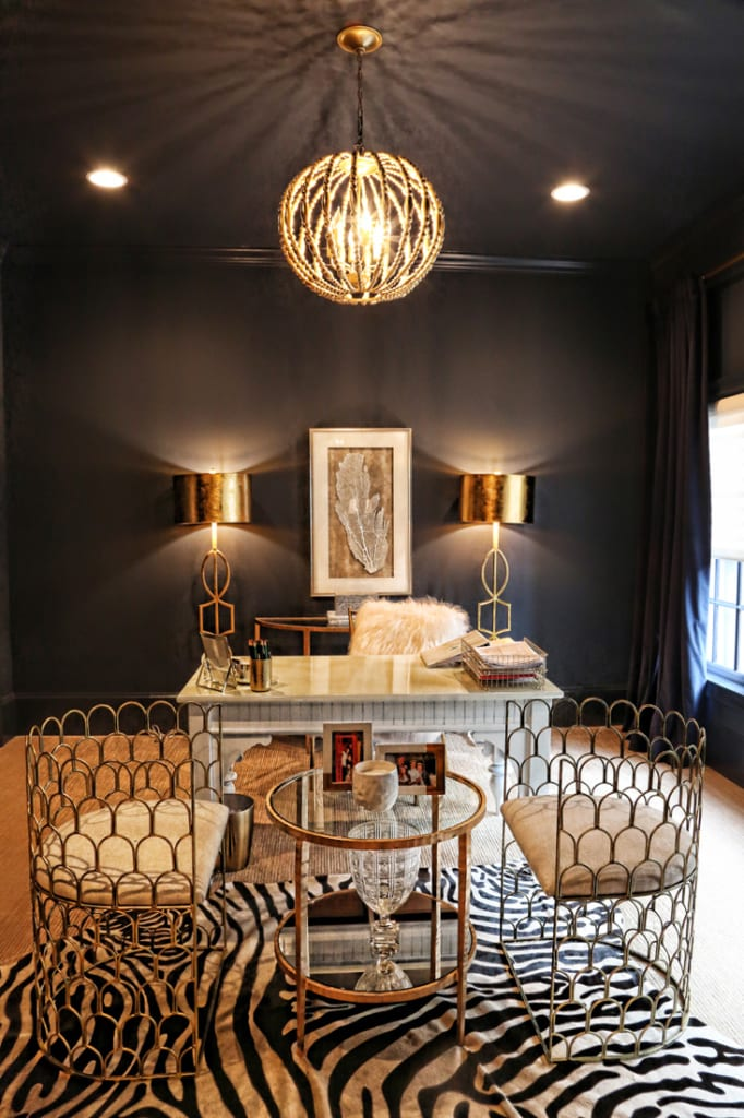 Teri Xerogeanes' navy and gold office is a stylish retreat for the hardworking lady of the house.