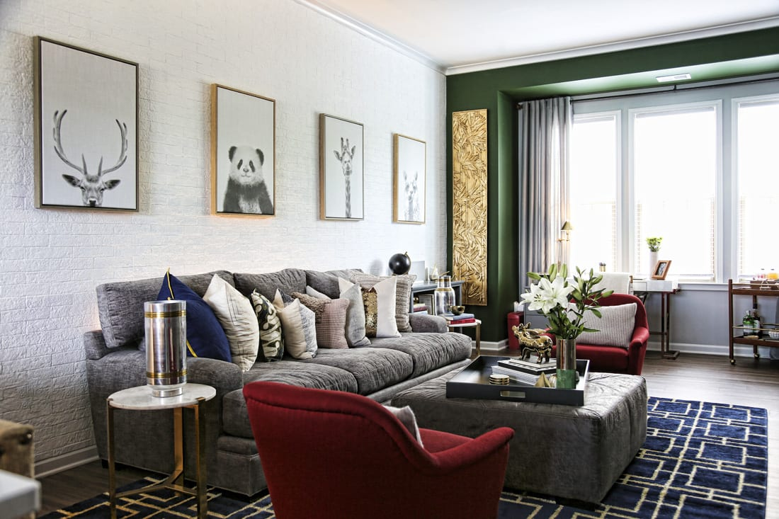 Pops of green, blue and red add vibrancy to the townhome's modern, urban ambience.