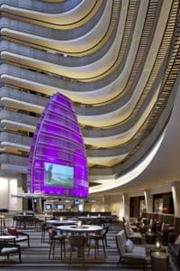 """The hotel's lobby features the Pulse bar, marked by a """"sail"""" that changes colors throughout the day."""