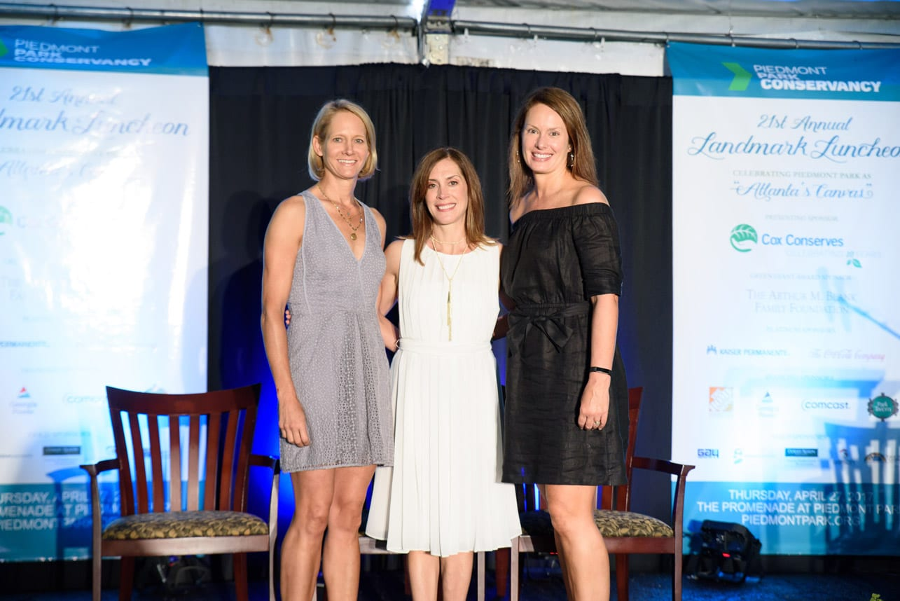 Wick Garrard (left) and Ellen Sacchi (center) join Erin Yabroudy at the Piedmont Park Conservancy's 21st annual Landmark Luncheon.