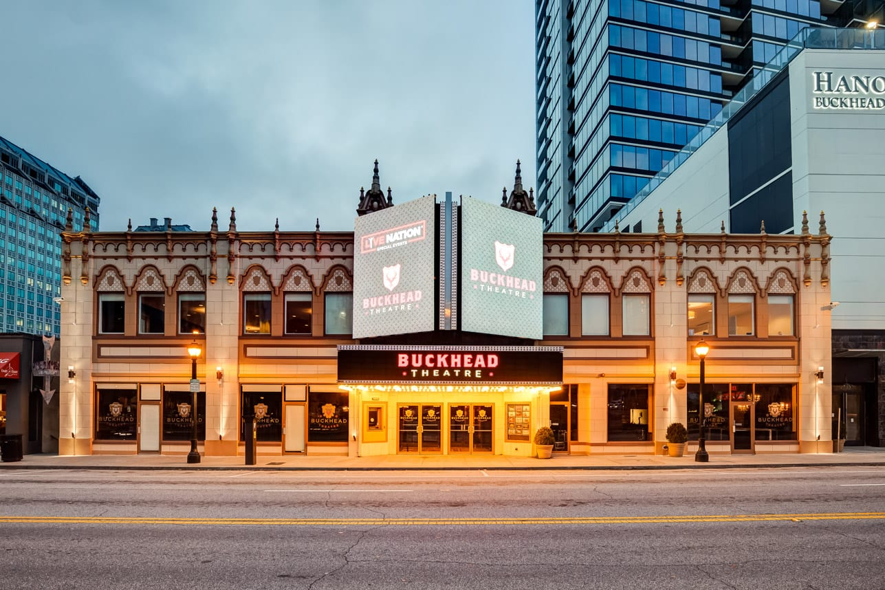 The Spanish Baroque details of the Buckhead Theatre's facade offer a contrast to the high-tech marquee.