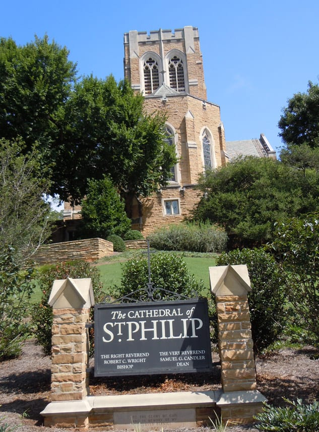 The topography and screening trees help The Cathedral of St. Philip blend into the neighborhood.