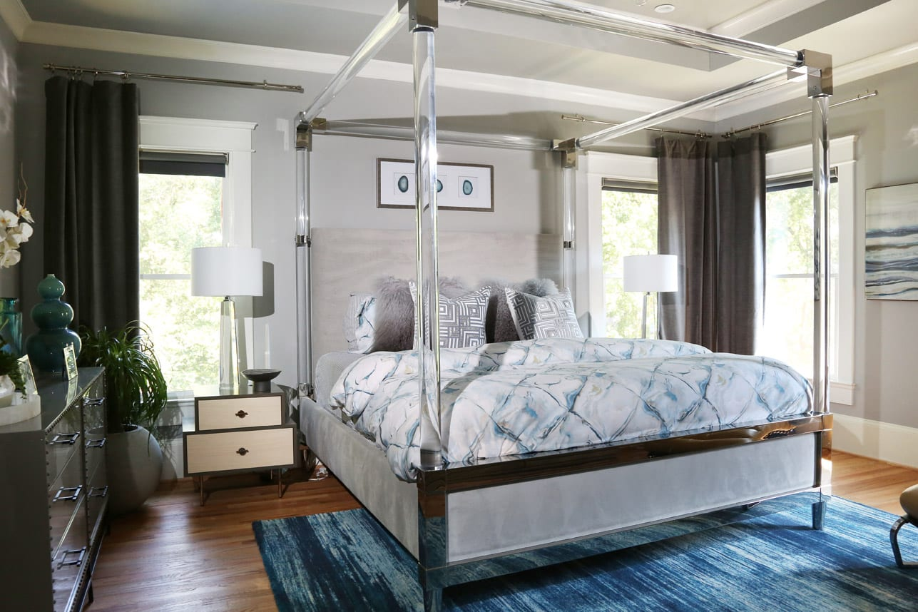 The recently redone master bedroom combines sleek furnishings from Bernhardt, West Elm and more.