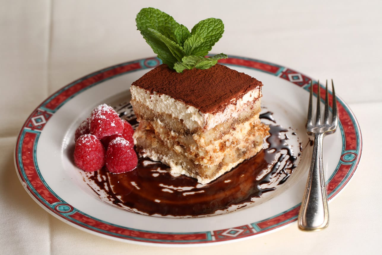 The housemade tiramisu boasts Marsala-scented mascarpone, amaretti cookies and a thick dusting of cocoa powder.