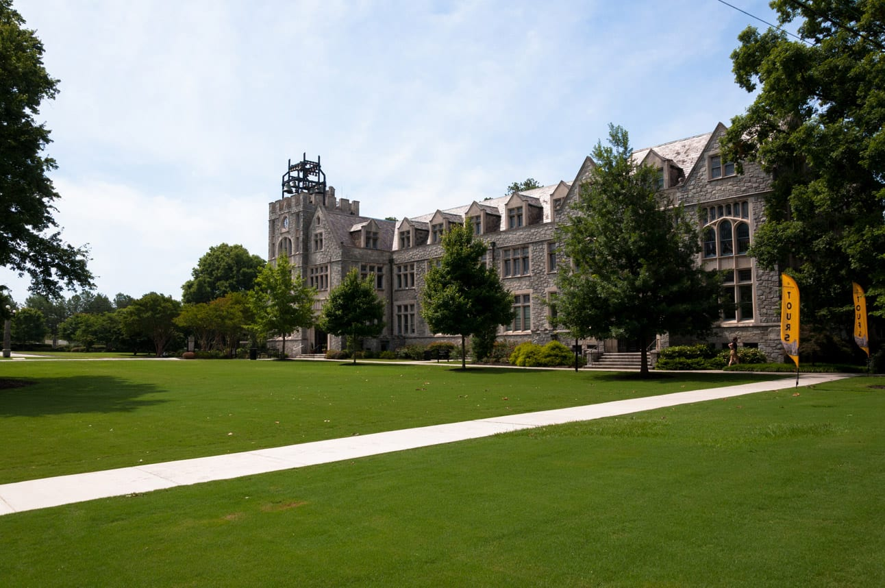Lupton Hall, and most of the other buildings on the Oglethorpe campus, are a stunning example of Collegiate Gothic architecture.