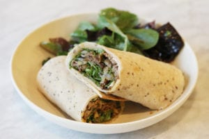 Creamy French cheese, spicy arugula and horseradish yogurt complement the sumptuous shaved-steak Rebel wrap.