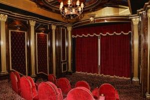The lavish media room pays homage to Atlanta's Fox Theatre.