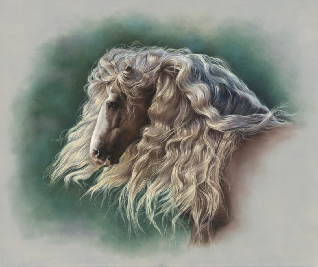 Lisa Stockdell's Crowning Glory was inspired by a stallion from the Gypsy Vanner Horse breed, known for their thick, luxurious manes.